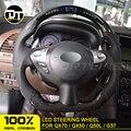 Светодиодный руль из углеродного волокна для Infiniti QX70 QX50 Q50 G37 глянцевый черный Автомобильный гоночный руль