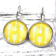 Cute Candy Color Handmade Photo Arrow Crystal Pendant Round Image Glass Cabochon Earrings Digital Jewelry Gift Souvenir