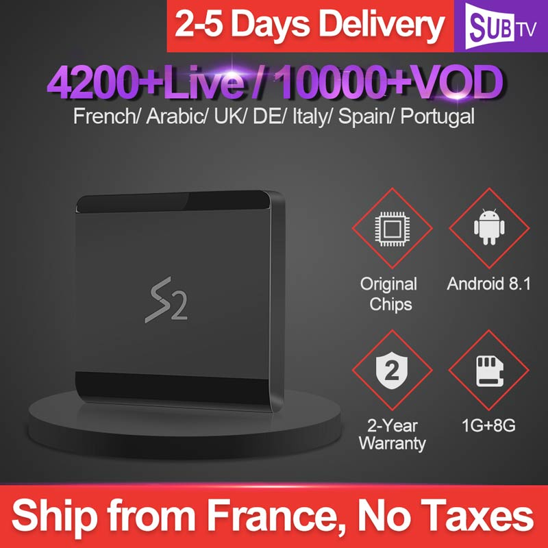 Leadcool S2 Android 8.1 Tv Box 4K IPTV France Subscription RK3229 1GB 8GB SUBTV 1 Year UK Arabic French Italia Netherlands Ip Tv-in Set-top Boxes from Consumer Electronics
