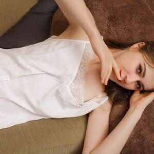 Image 5 - Falda larga Sexy de verano para dormir, 100% blanca de algodón, ropa de dormir con tirantes finos, camisón de noche sin mangas para mujer, camisón de lencería