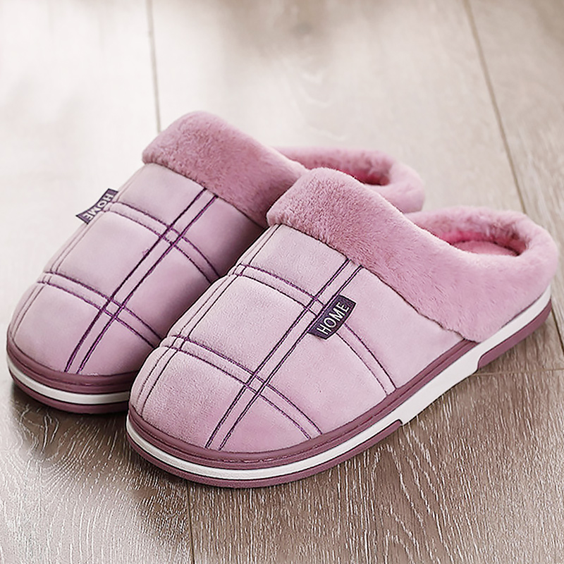 Women Winter Slippers Large Size 43-51 Suede Gingham Comfortable House Slippers Women TPR Men Slippers For Home