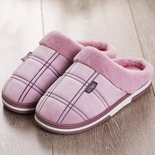 Купить с кэшбэком Women Winter Slippers Large Size 43-51 Suede Gingham Comfortable House Slippers Women TPR Men Slippers for Home