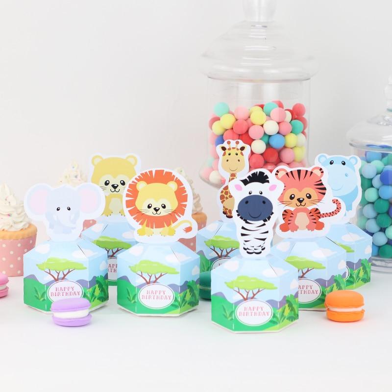Принадлежности для вечеринки в стиле сафари, животных, Junle, коробка для конфет на день рождения, украшение для вечеринки в виде животного