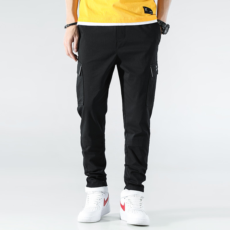 Workwear Casual Pants Men's Spring Clothing Korean-style New Style Solid Color Bib Overall Teenager Beam Leg Multi-pockets