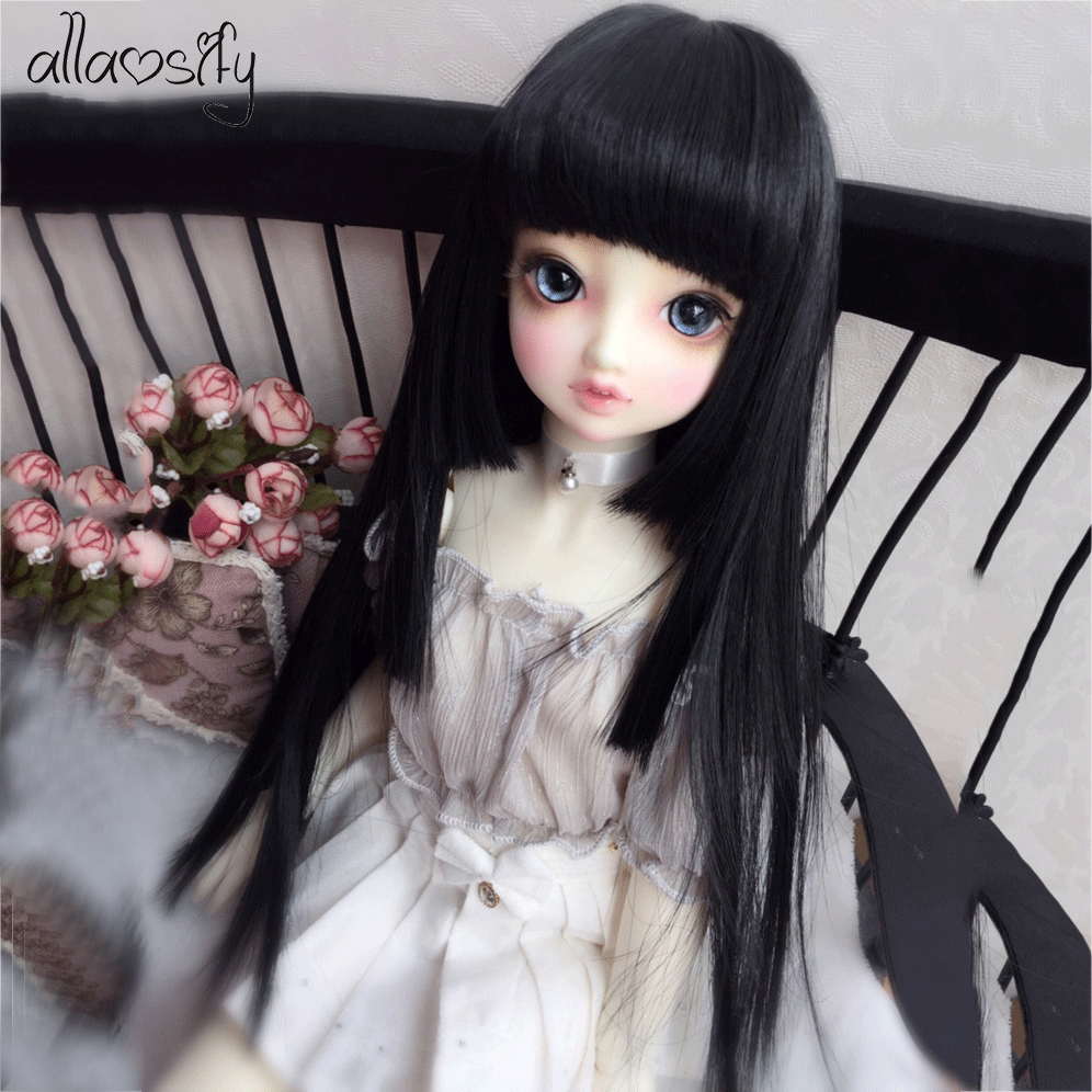 Allaosify BJD SD Doll Wig Long Straight Brown 1/3 1/4 1/6 1/8 Hair BJD Wigs