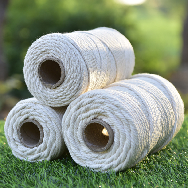 10/8/6/5/4mm Macrame Rope Twisted String Cotton Cord Hand DIY For Handmade Natural Beige Rope DIY Accessories 50/65/100/150/200M