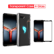Case For Asus Rog Phone 2 Silicone Transparent Shockproof II ZS660KL Cover With TemperedGlass