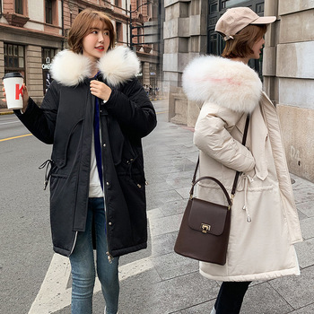 Women Fashon Winter Parkas Cotton Jacket 2020 New Large Size Thick Warm Coat Mid Long Hooded Coats Female Fur Collar Outerwear 2018 new winter children jackets teenage girls winter jacket fur hooded collar medium long warm kids parkas warm outerwear