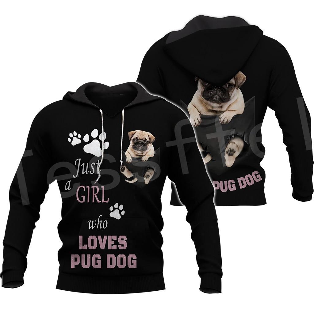 Tessffel Animal Pug Dog Pet Funny NewFashion Mens Womens Sweatshirts/Hoodies/zipper/Jacket 3Dprint Pullover Tracksuit Casual S12