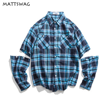 MATTSWAG Hit Color Plaid Shirt Mens Detachable Sleeve Men Dress Shirts Hipster Japanese Plaid Dress Button Up Shirt Men Clothes