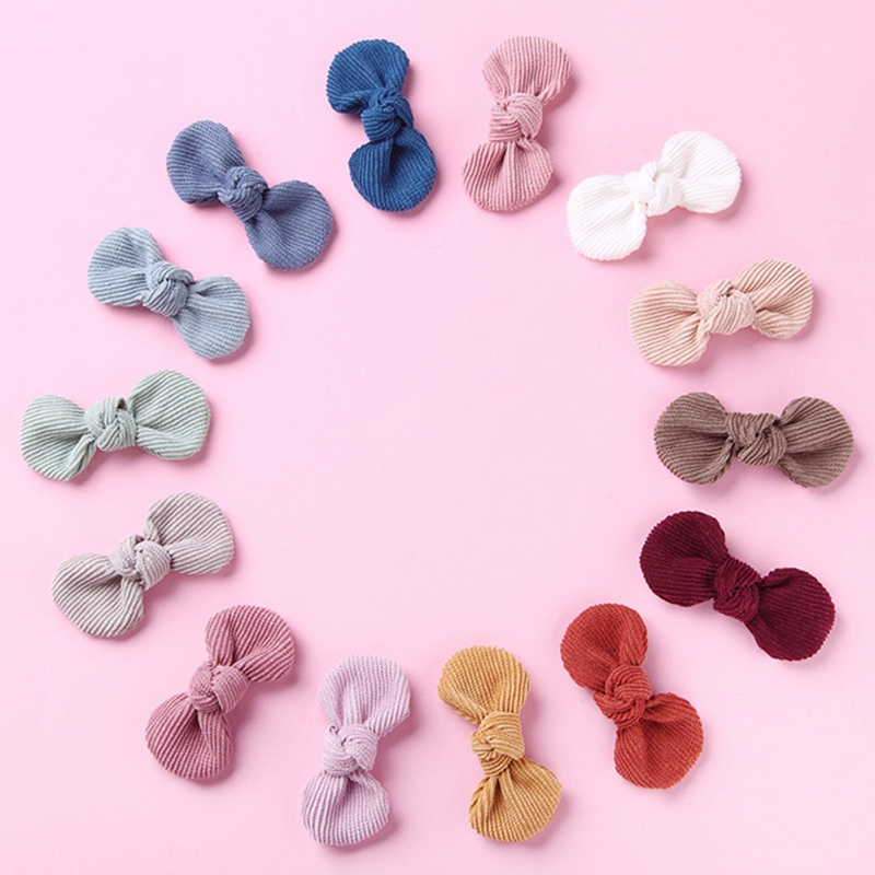 Baby Hair Clips Bow Girl Hairpins Corduroy Children Autumn Winter Barrette Kids Candy Color Hair Accessories Infant Hairclip