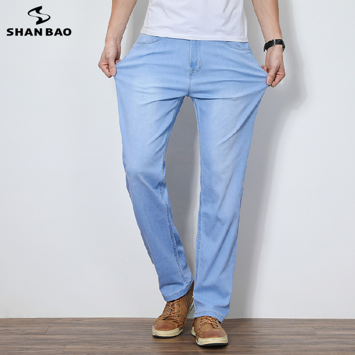 Summer thin section comfortable stretch cotton men's loose straight jeans 2020 new brand light blue Leisure jeans Oversized