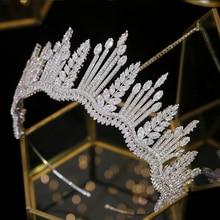 Neue luxus prinzessin kristall crown Tiara kristall braut crown CZ hochzeit stirnband große hochzeit haar zubehör