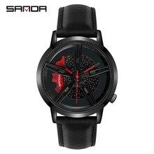 SANDA 최고 브랜드 패션 남자 시계 프리미엄 쿼츠 무브먼트 휠 손목 시계 가죽 스트랩 생활 방수 선물 Montre Homme 1040