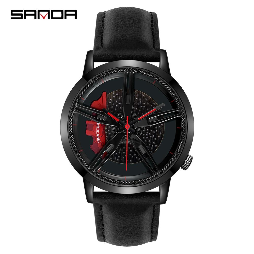 SANDA Top Brand Fashion Men Watch Premium Quartz Movement Wheel Wristwatch Leather Strap Life Waterproof Gifts Montre Homme 1040Quartz Watches   -