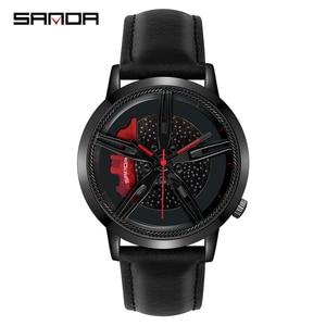 Image 1 - SANDA Top Brand Fashion Men Watch Premium Quartz Movement Wheel Wristwatch Leather Strap Life Waterproof Gifts Montre Homme 1040