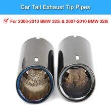 2 Pcs Titanium Black Car Exhaust System Muffler Tail Pipe Tip for BMW E90 E92 325i 328i 2006-2010 Auto Accessories