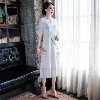 Casual Elegant Flower Chiffon Chinese Style Dressgown Vintage V-Neck Qipao 2020 New Female Long White Cheongsam Vestidos