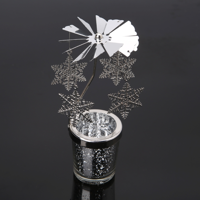 Rotary Spinning Tealight Candle metal Tea Light Holder Carousel Home Decoration