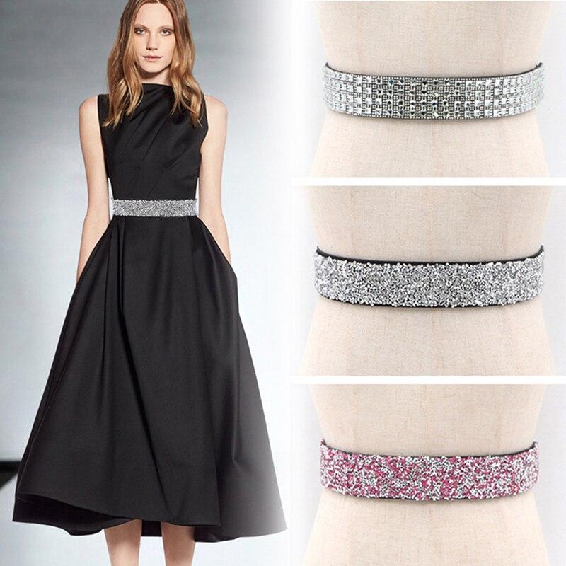 Women Fashion Waist Belt Glitter Rhinestone Crystal Sash Cummerbund Elegant Lady Waistband New Party Dress Accessories