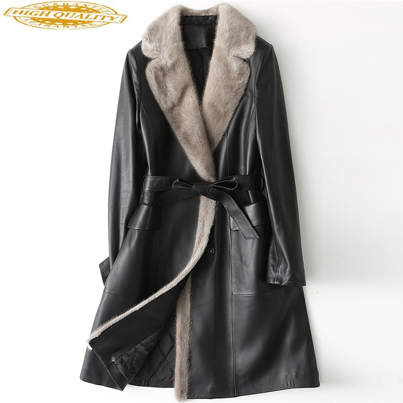 2020 Genuine Leather Jacket Women Mink Fur Collar Real Sheepskin Coat Winter Down Cotton Parka Cazadora Mujer HQ18-YY1079B J2776