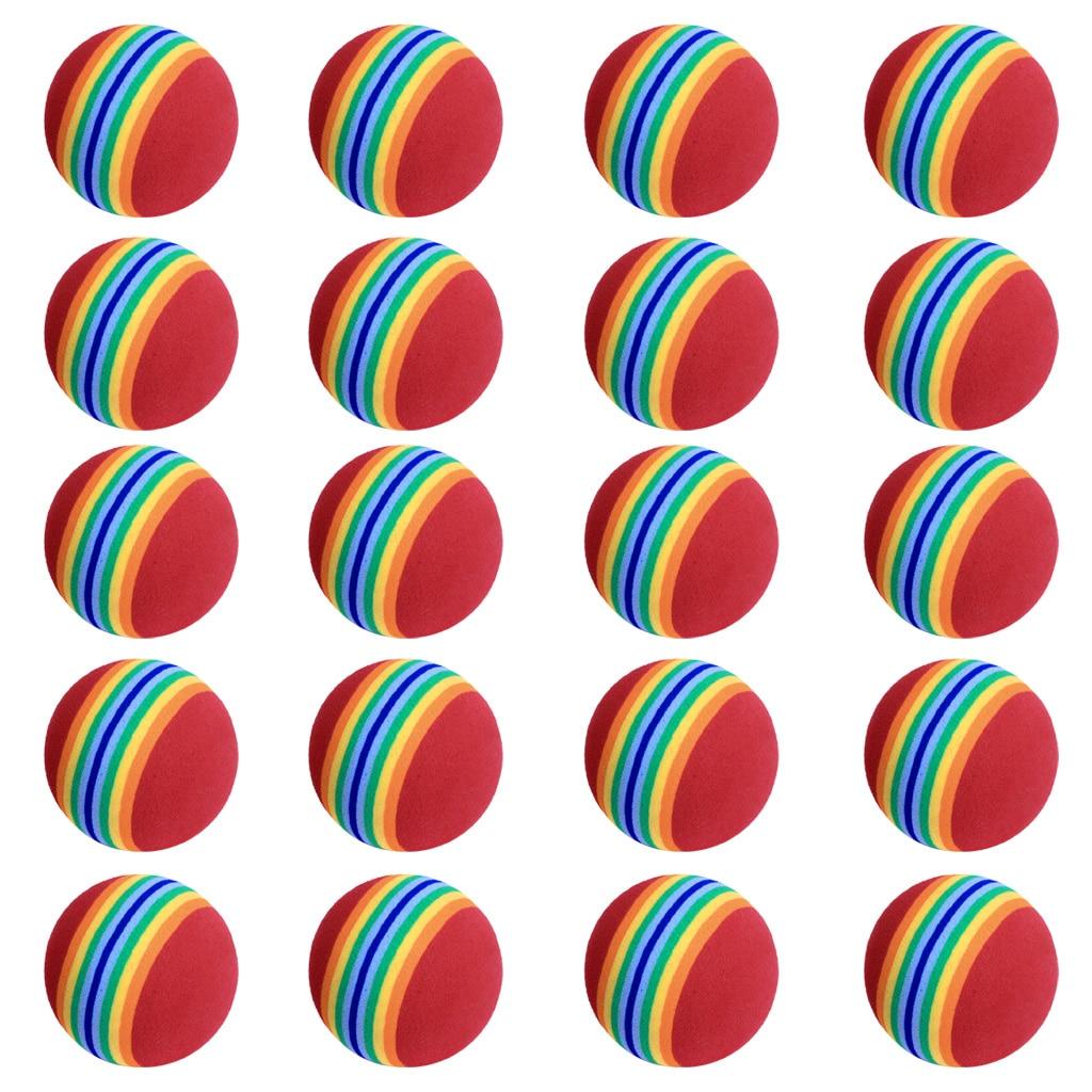 20Pcs 40mm EVA Foam Soft Rainbow Stripe Golf Training Balls Swing Golf Club Beginner Practice Training Aids Ball Indoor
