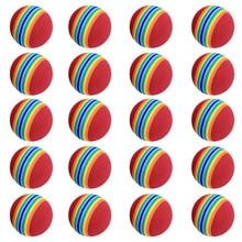 20Pcs 40mm EVA Foam Soft Rainbow Stripe Golf Training Balls Swing Golf Club Beginner Practice Training Aids Ball Indoor free shipping 50pcs bag rainbow color golf training foam balls golf swing indoor training aids practice sponge foam balls