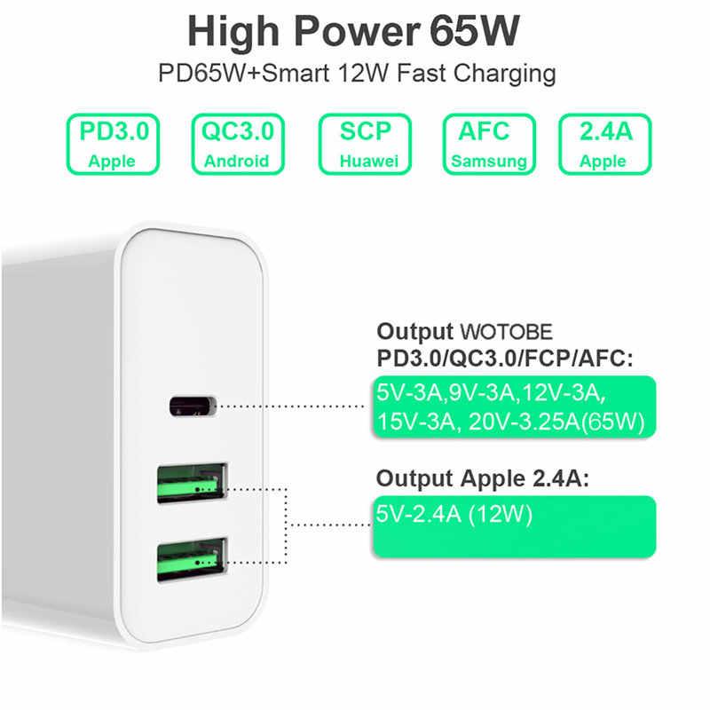 3 порта 65W Type-C USB-C адаптер питания, 1 порт PD зарядное устройство для ноутбуков MacBook Pro / Air iPad Pro, 2 порта USB для Samsung iPhone