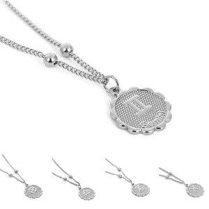 12 Zodiac Sign Relievo Pendant Necklace Gold Silver Color Copper Constellation Chain Necklace Horoscope Women Jewelry Gift