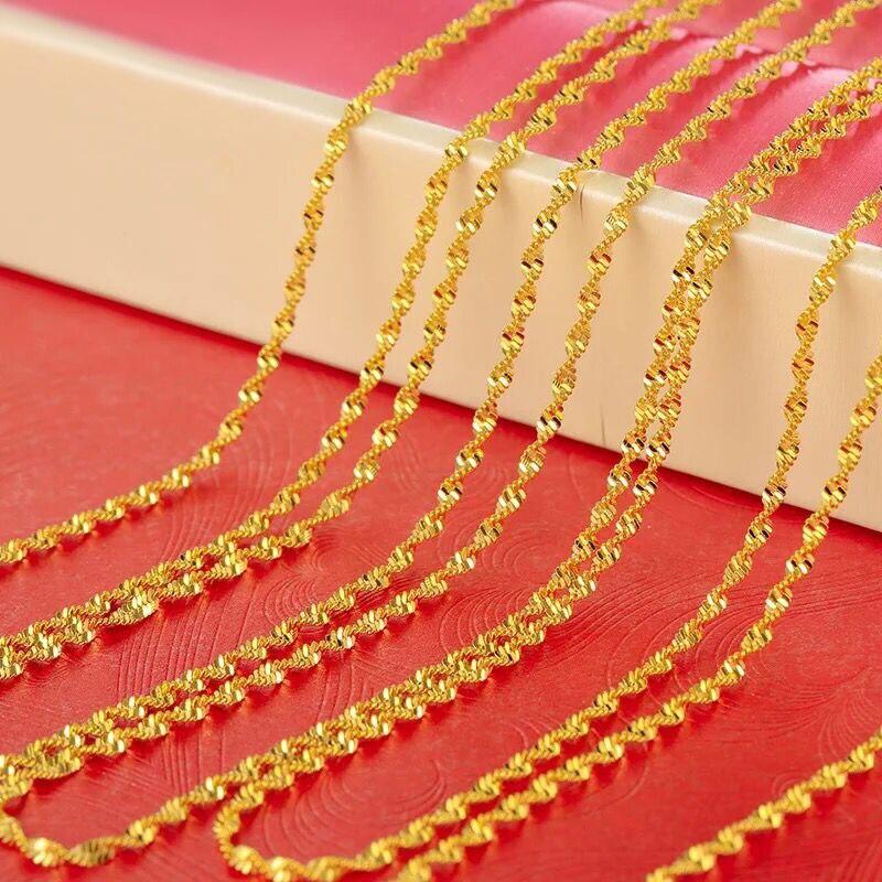XP Jewelry- (45 см x 2 мм) ожерелье из чистого золота 24 карата с маленькой цепочкой в виде водной ряби для женщин для подвесок