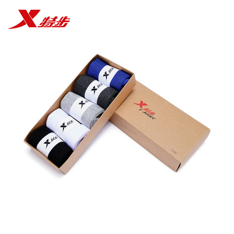 882139559066 Xtep men mid socks 5-Pairs/Lot cotton spring and autumn mens flat five pairs