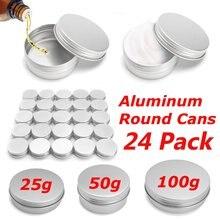 24pcs Empty Metal Aluminum Round Tin Cans Box Silver Cosmeti