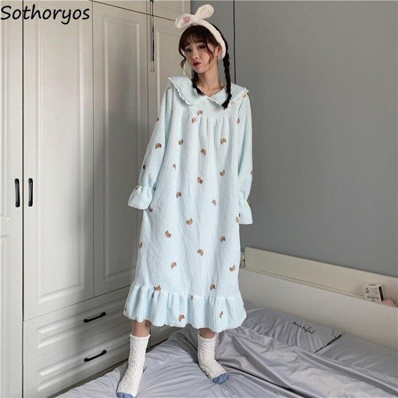 Nightgowns Women Printed Kawaii Coral Velvet Ruffled Loose Girls Sweet Princess Casual Soft Homewear Fashion Autumn Winter Warm