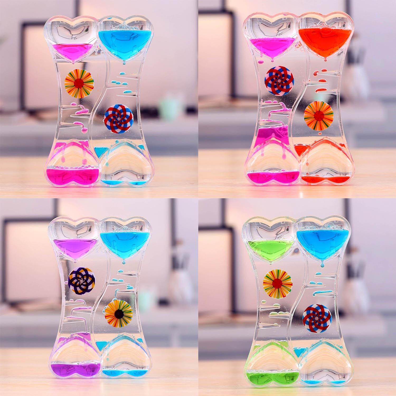 2PCS Funny Double Heart Liquid Motion Timer Bubbler Oil Drop Toys For Kids Adults Gift Relieve Stress Desktop Toys