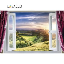 Laeacco Window Curtain Natural Mountain Hillside Grass Tree Scenic Photo Background Photography Backdrops Photocall Shoot