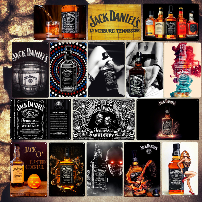 Bourbon Whiskey Plaque Wine Vintage Metal Tin Signs Decorate Plates for Cafe Bar Home Pub Tennessee Whiskey Wall Art Poster ZSS2