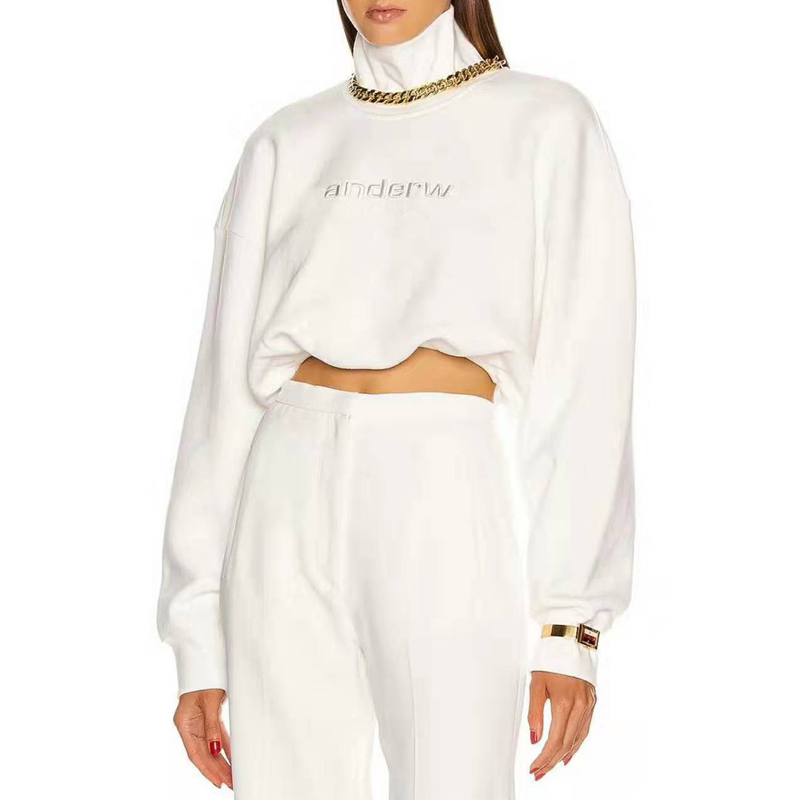 2020 Spring New Vintage Loose Letter Embroidery Short Crop Top Turtleneck Hoodies Women Tide Sweatshirts A2