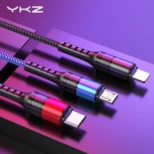 YKZ кабель для мобильного телефона 3 в 1 Micro USB кабель usb type-C кабель для зарядки для samsung Xiaomi huawei USB шнур для освещения