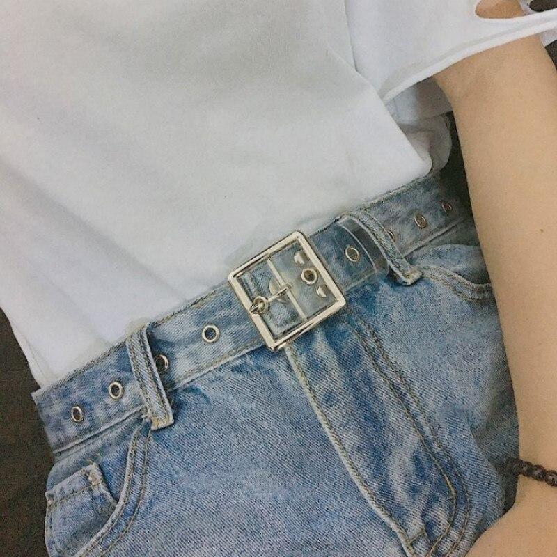 Ремень в форме сердца для женщин, милый прозрачный пояс из смолы для джинсов, платьев, Дамский Круглый прозрачный ремень в стиле Харадзюку с пряжкой с язычком из ПВХ