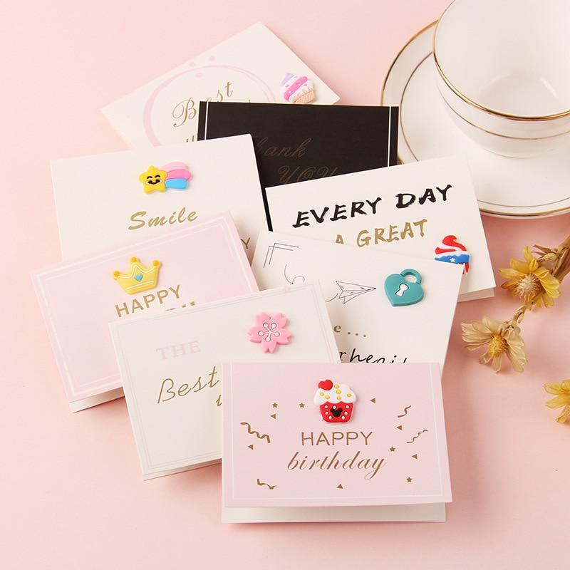 1Set 1 Card + 1 Envelope Cute Rainbow Star Ice Cream Cake Crown Heart Lock Envelope Set Creative DIY Tool Greeting Cover Gift