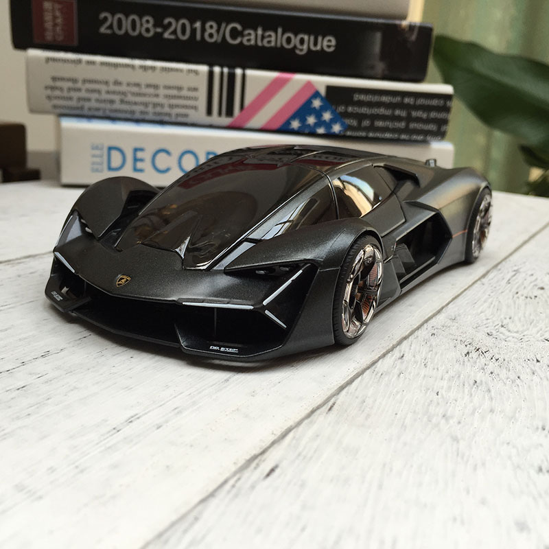 Bburago 1:24 Lamborghini Terzo Millennio Black Alloy Car Model Simulation Car Decoration Collection Gift Toy Die Casting Model