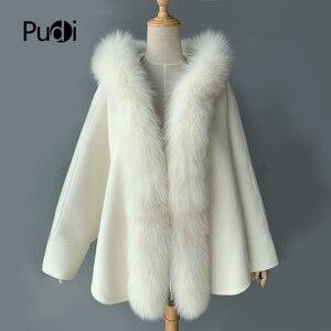 Женское пончо из натурального Лисьего меха Pudi, белое шерстяное пальто с капюшоном, CK201