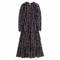 Flower print Womens zora black Dress Winter Fall bohemian maxi Dress Vestidos fashion streetwear ruffles pleated chiffion Dress