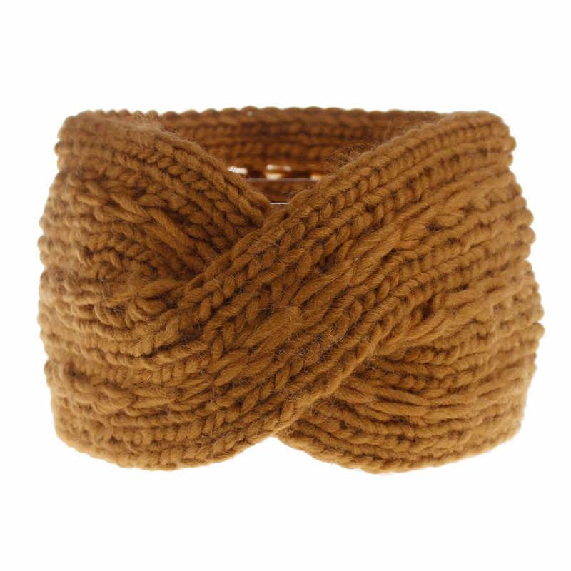 1 шт., Женская повязка на голову для осени и зимы, вязанные крючком повязки на голову, шерсть, вязаная резинка для волос, тюрбан, винтажные аксессуары для волос, повязка на голову