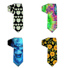 New Design Funny Neckties For men Cartoon Novelty Fashion Ties Skull Printed Neck ties Wedding Halloween Party Accessories