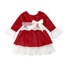 1-6Years Christmas Toddler Baby Kids Girls Red Dress Long Sleeve Lace Bow Tutu Party Wedding Birthday Dresses Girl Xmas Costumes