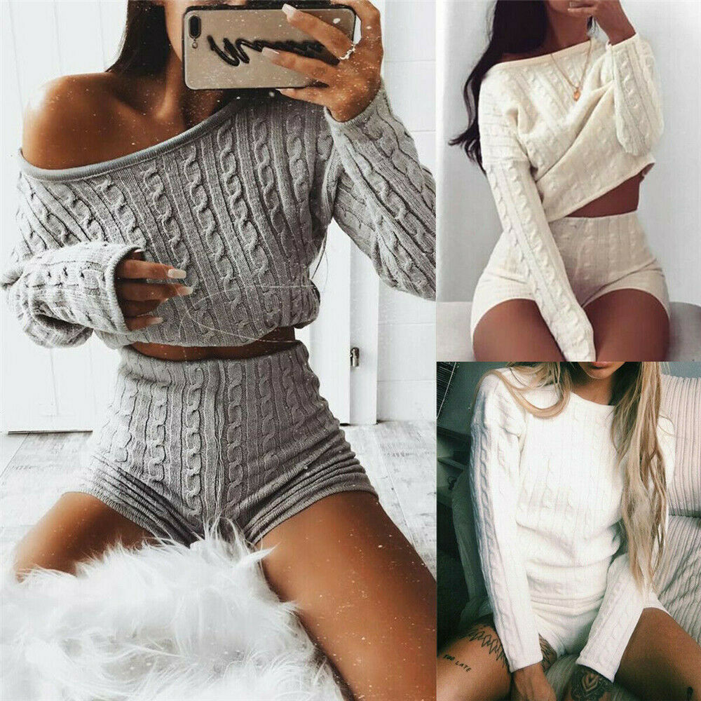 Hirigin Women Sweater Suits Autumn Winter Knitted Tracksuit Sweater+Short Jumper Women 2 Pieces Set Knitwear Sporting Suit