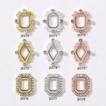 10 sztuk Crstal klejnot ramki, 5 rodzajów (3 kolor) paznokci artystyczna rama części Hollowout koronki ramki Nail Art piękna biżuteria DIY Craft części
