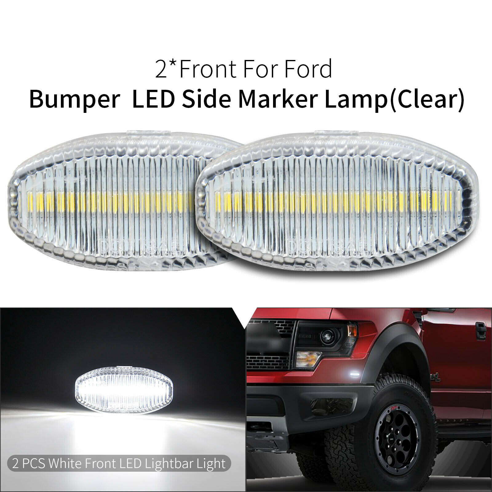 Front Bumper White <font><b>LED</b></font> Side Marker Light Lamp For Ford F150 SVT Raptor 2010-2014 image