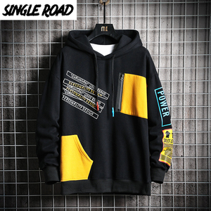 Image 1 - SingleRoad Kéo Nam Mùa Đông 2020 Miếng Dán Cường Lực Hip Hop Nhật Bản Dạo Phố Harajuku Đen Áo Áo Hoodie Nam Quần Tây